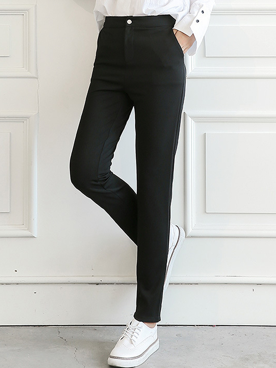 Black Elastic Waist Pocket Slim-Leg Pants