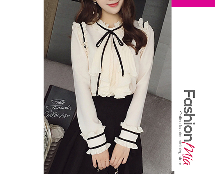 gender:women, hooded:no, thickness:regular, brand_name:fashionmia, material:chiffon, collar&neckline:tie collar, embellishment:bowknot,ruffle trim, how_to_wash:hand wash only, occasion:office, season:autumn,spring, package_included:top*1, lengthshouldersleeve lengthbust