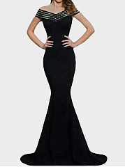 Off Shoulder Hollow Out Plain Evening Dress