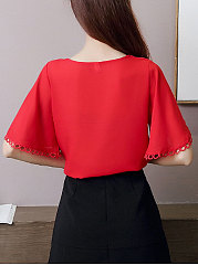 Summer  Cotton  Women  V-Neck  Plain  Bell Sleeve  Short Sleeve Blouses