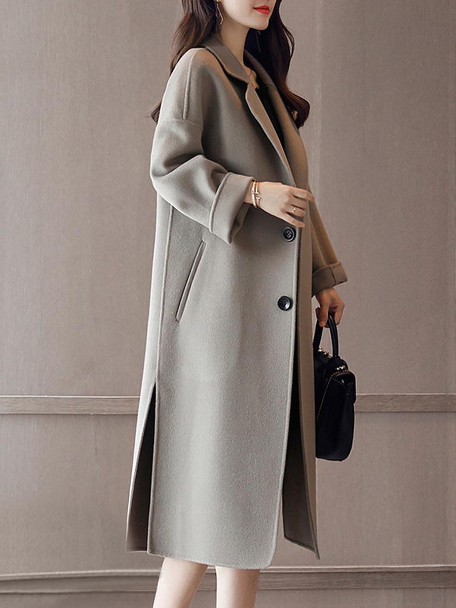 Lapel Pocket Plain Long Woolen Coat