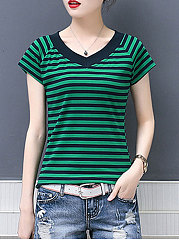 Summer  Cotton  Women  V-Neck  Striped Short Sleeve T-Shirts
