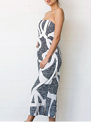 Backless  Printed  Wide-Leg Jumpsuits For Women