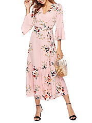 V-Neck  Belt  Printed Fashion Maxi Dress
