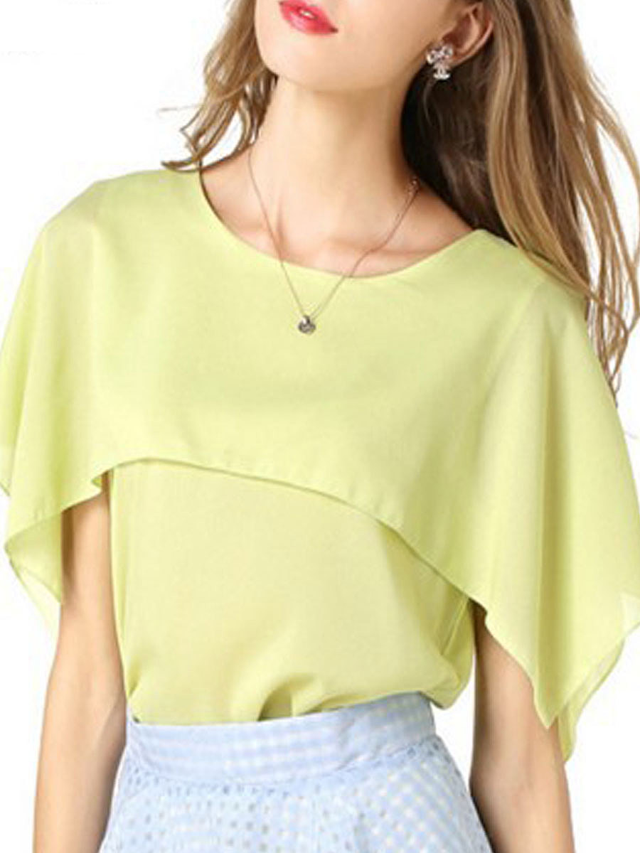 Spring Summer  Polyester  Women  Round Neck  Patchwork  Plain  Batwing Sleeve  Short Sleeve Blouses