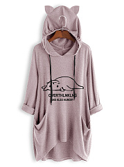 Hooded  Asymmetric Hem  Animal Prints Hoodie