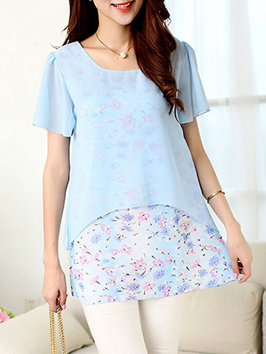 Floral Printed Double Layer Short Sleeve T-Shirt
