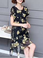 Asymmetric Hem Floral Printed Hollow Out Round Neck Skater Dress