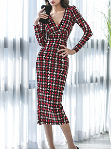 V-Neck  Slit  Plaid Bodycon Dress