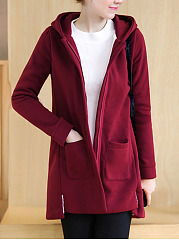 Hooded Patch Pocket Plain Fleece Lined Longline Coat