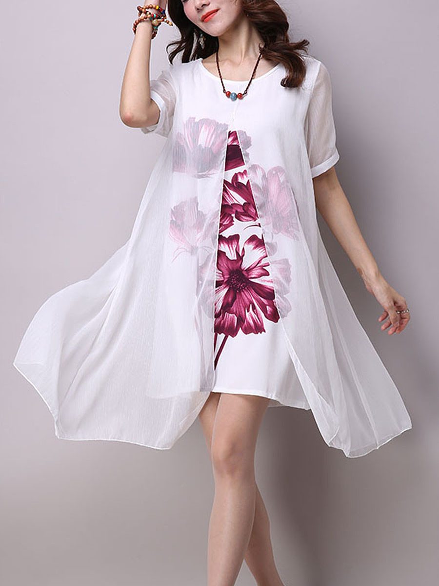 Round Neck Floral Hollow Out Shift Dress