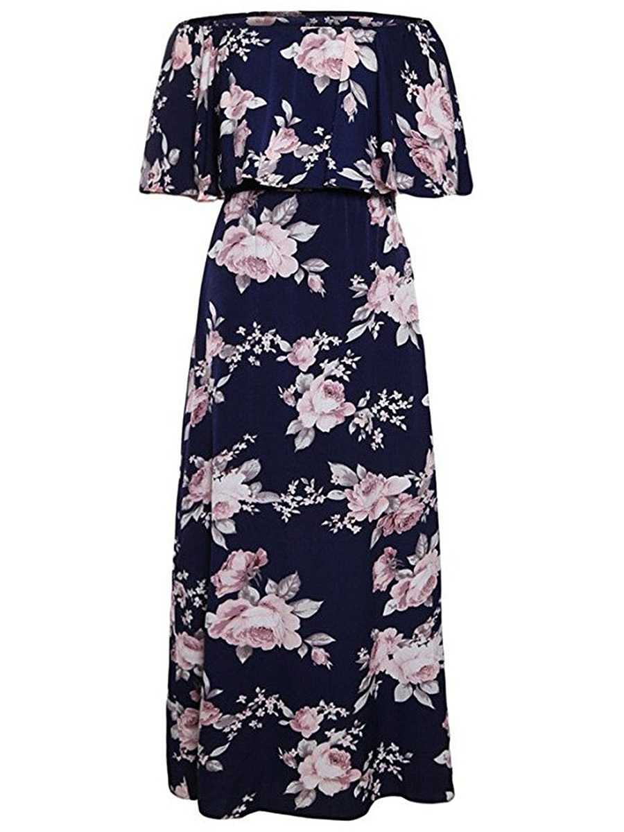 Off Shoulder Elastic Waist Flounce Floral Printed Maxi Dress