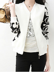 Band Collar  Color Block Jacket