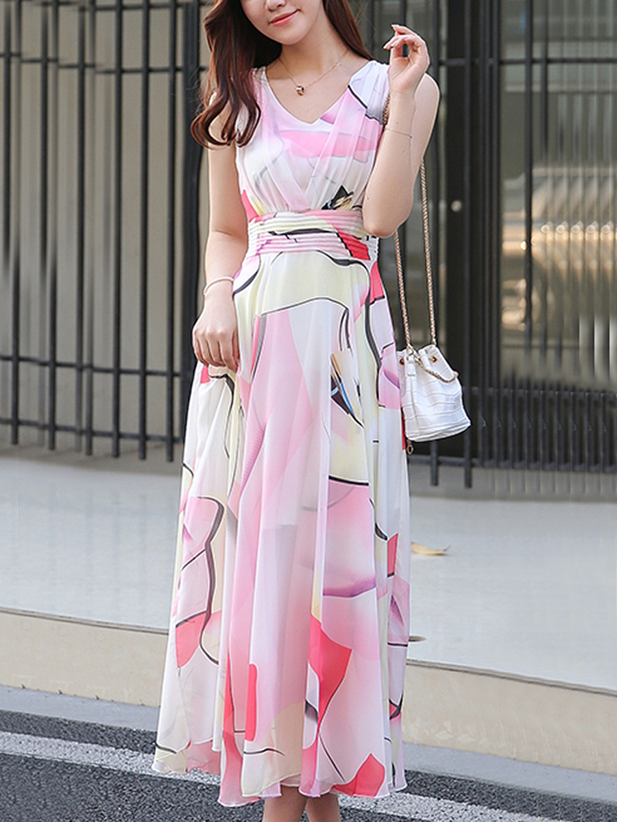 Flowy V-Neck Printed Chiffon Maxi Dress