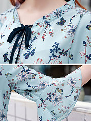 Spring Summer  Polyester  Women  Tie Collar  Floral Printed  Bell Sleeve  Half Sleeve Blouses