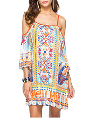 Spaghetti Strap Vacation Printed Shift Dress