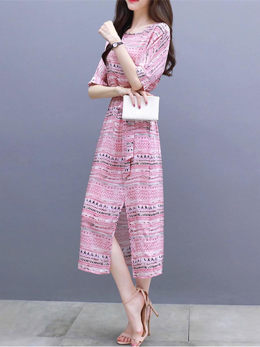 Round Neck  Belt  Printed Maxi Dress