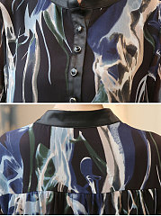 Collarless  Single Breasted  Floral  Long Sleeve Blouses