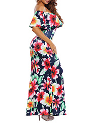 Off Shoulder  Flounce  Floral Plus Size Midi & Maxi Dresses