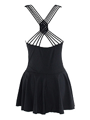Sweet Heart Strappy-Back Cutout Plain Skirted One Piece