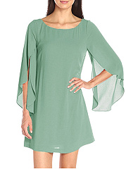 Round Neck  Plain Split Sleeve Shift Dress