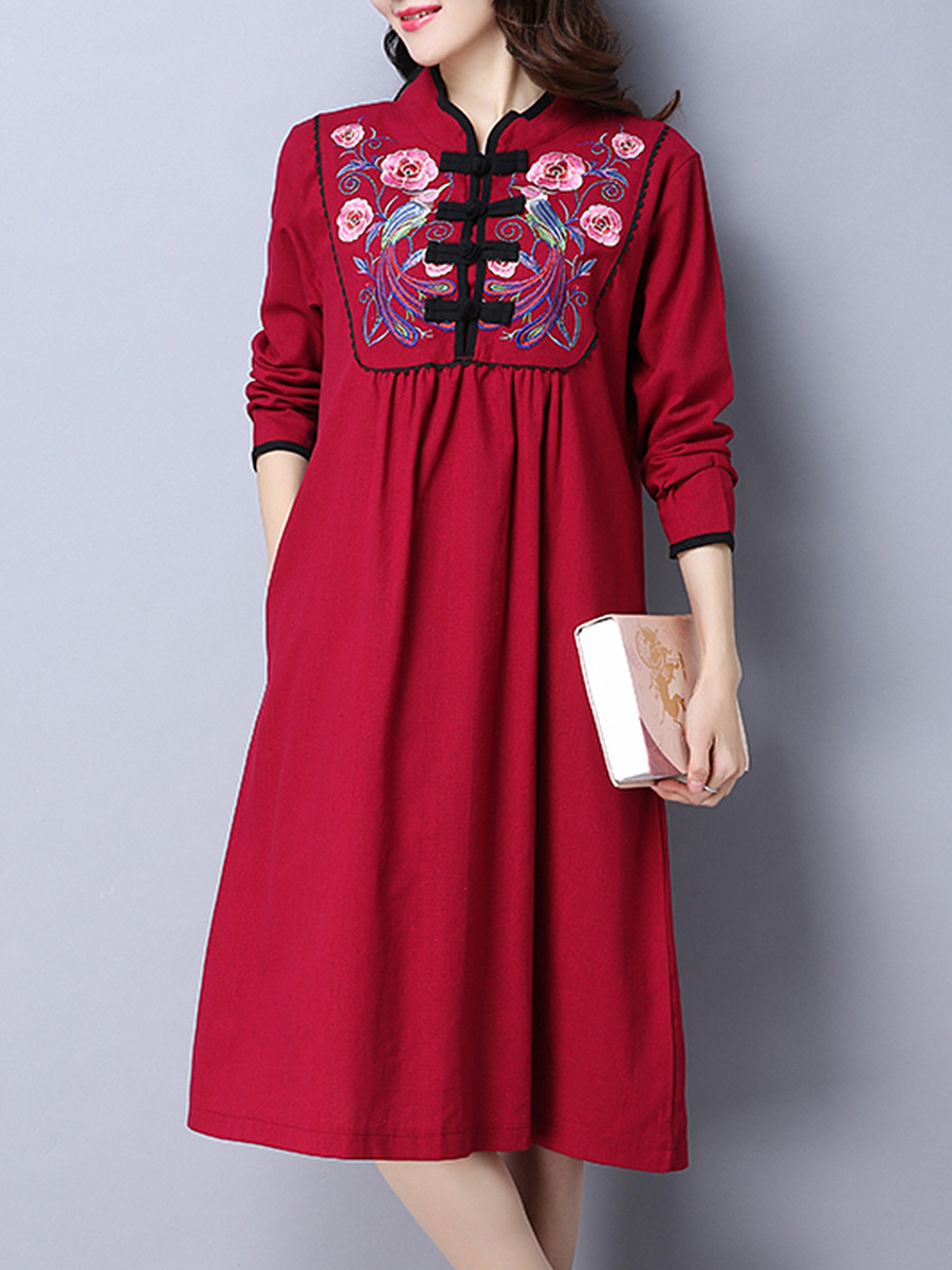 Extraordinary Band Collar Slit Pocket Embroidery Shift Dress