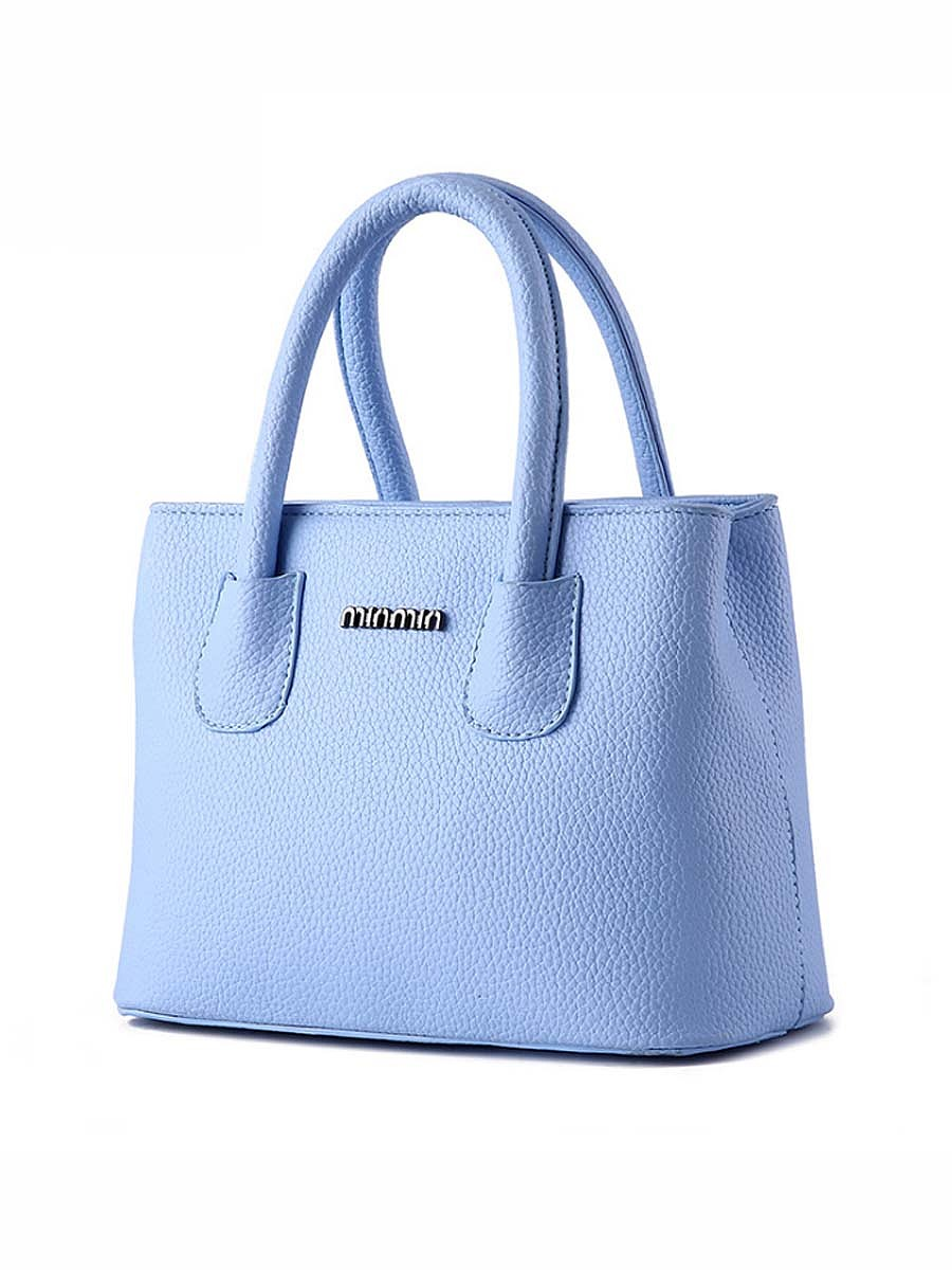 Candy Color Plain Pu Basic Handbag