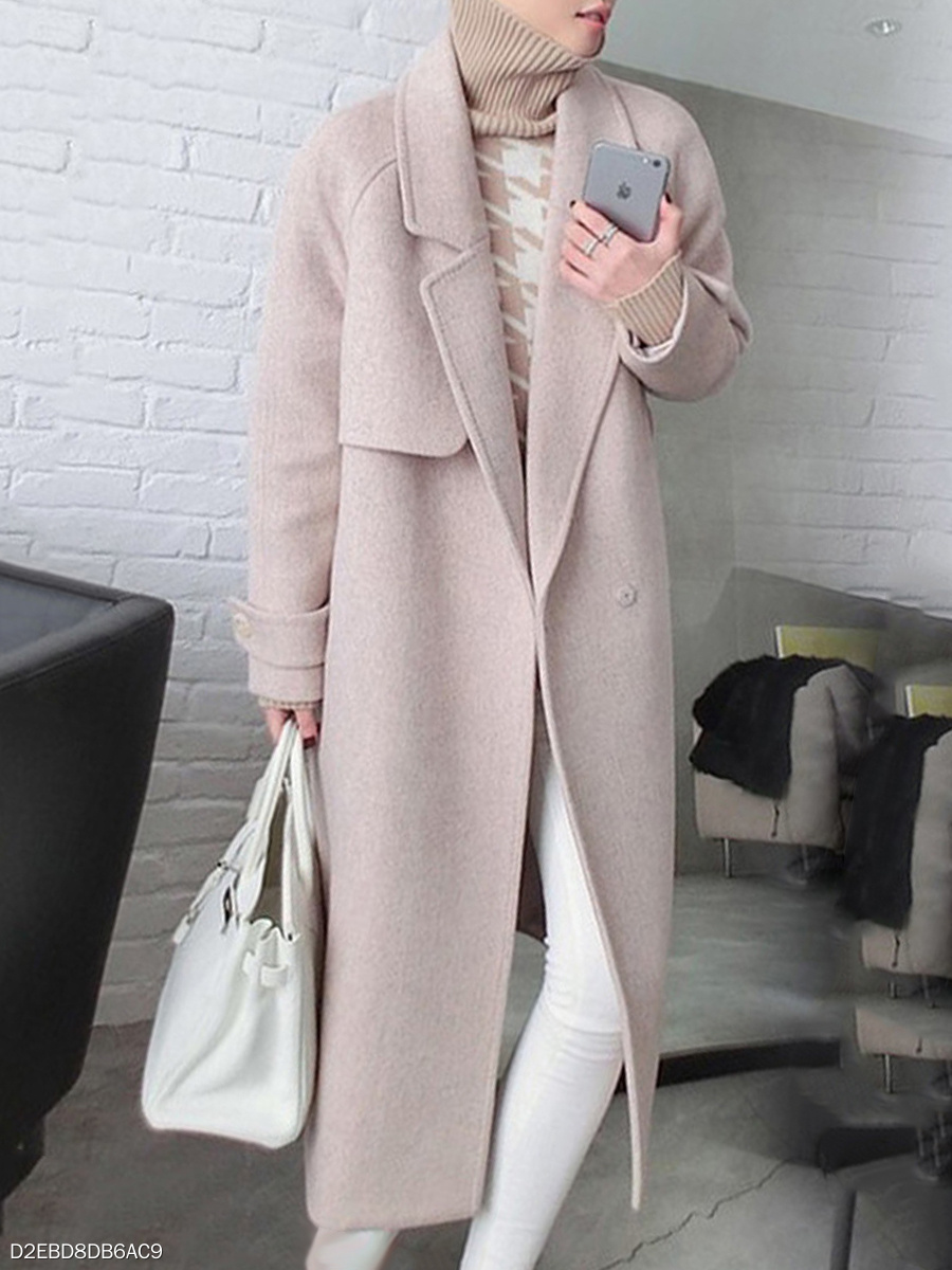 Notch Lapel  Belt  Plain  Long Sleeve Coats