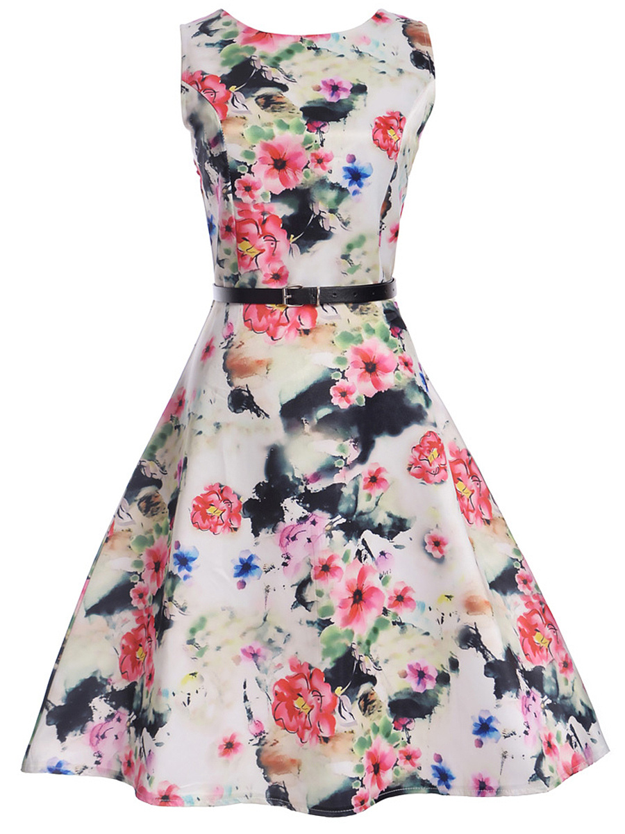Round Neck  Belt Absorbing Floral Printed Skater Dress