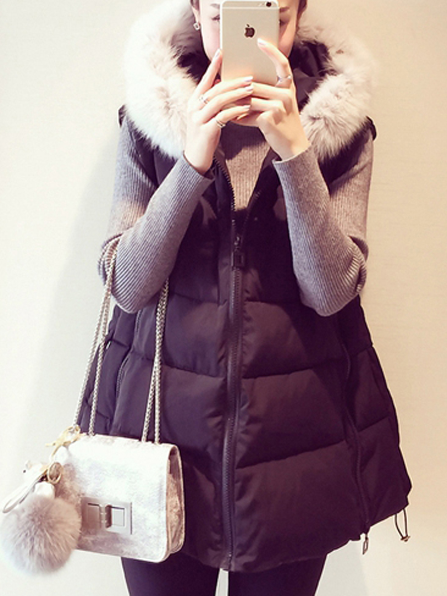 casual slit pocket daily vacation winter Hooded Pocket Quilted Waistcoat