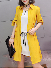 Turn Down Collar  Drawstring  Plain  Roll-Up Sleeve  Half Sleeve Trench Coats