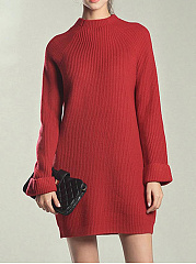 Band Collar  Plain Knit  Shift Dress