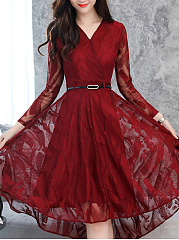 V-Neck Belt Hollow Out Plain Lace High-Low Skater Dress