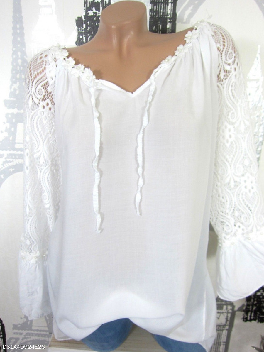 Autumn Spring  Women  Decorative Lace  Long Sleeve Blouses