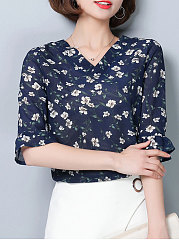Summer  Chiffon  Women  V-Neck  Floral Printed  Bell Sleeve  Half Sleeve Blouses