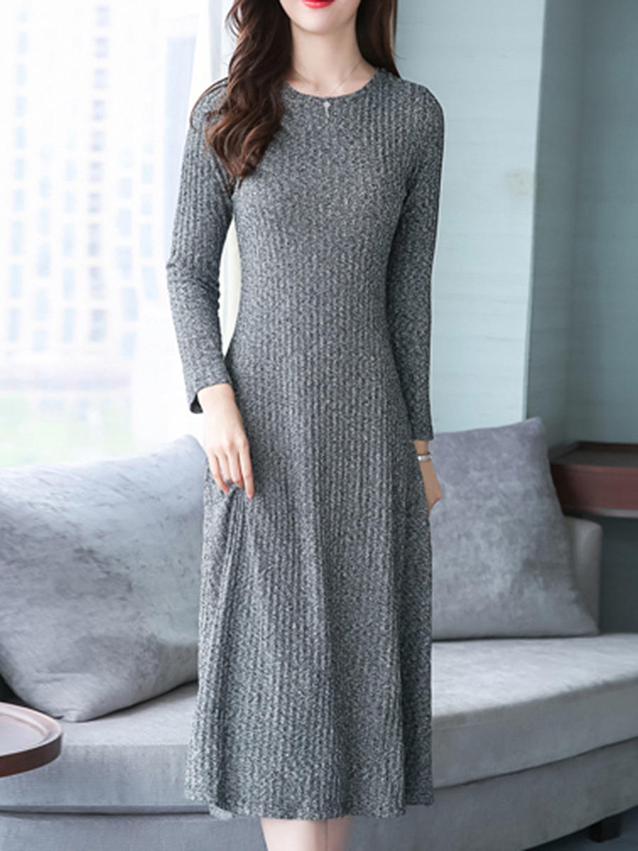 Round Neck Plain Knitted Maxi Dress