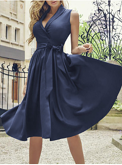 Fold-Over Collar  Plain Skater Dress
