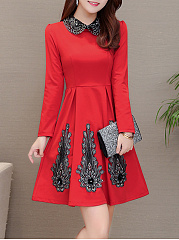 Doll Collar  Embroidery Skater Dress