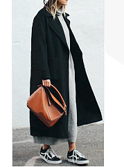 Lapel  Patch Pocket  Plain Long Woolen Coat