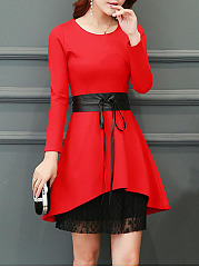 Round Neck Bowknot Patchwork Skater Dress