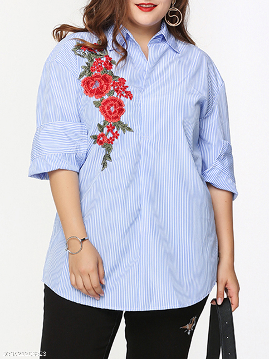 Embroidery Vertical Striped Designed Plus Size Blouse