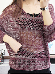 Round Neck  Hollow Out Plain  Long Sleeve Sweaters Pullover
