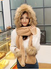 Winter-Thicken-Scarf-Wrap-Hat-Gloves-Set-One-Piece-Wollen-Ourdoors-Long-Hooded-Scarfs-Gloves