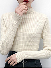 High Neck  Plain Stripes Knit Pullover