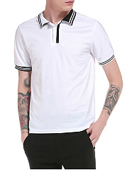 Polo Collar Contrast Striped Trim T-Shirt