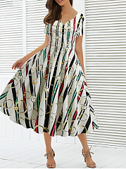 V-Neck  Abstract Print Skater Dress