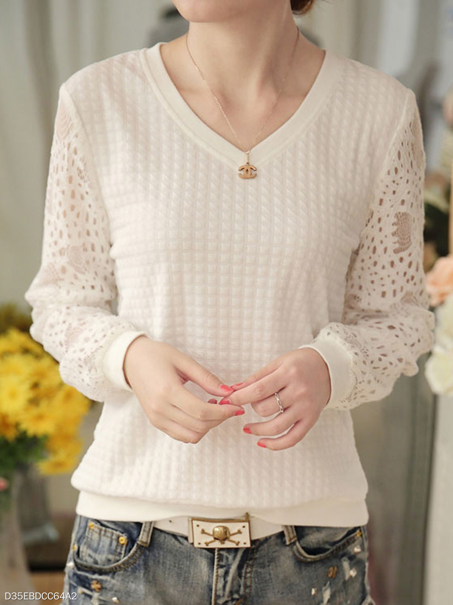 Autumn Spring Winter  Polyester  Women  V-Neck  Decorative Lace  Hollow Out Plain Long Sleeve T-Shirts