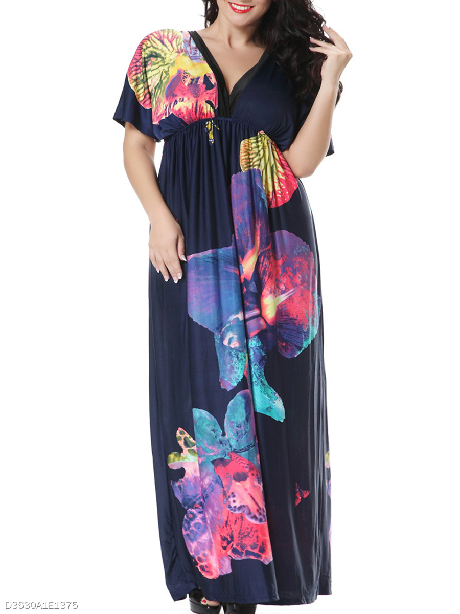 Color Block Printed Deep V-Neck Empire Plus Size Maxi Dress