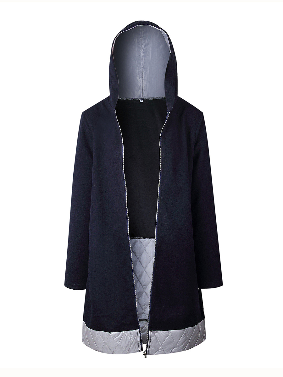 Hooded  Patchwork  Plain  Long Sleeve Coats