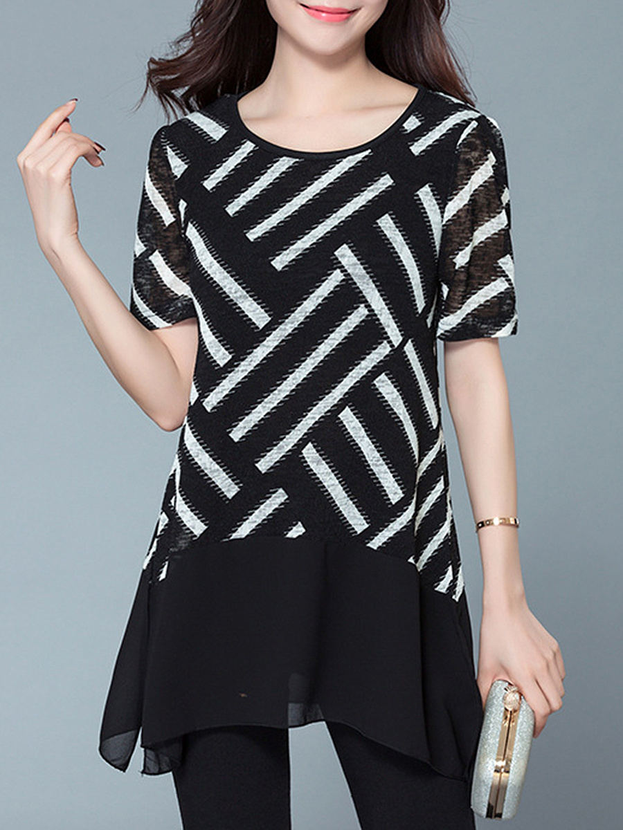 Modern Round Neck Striped Blouse